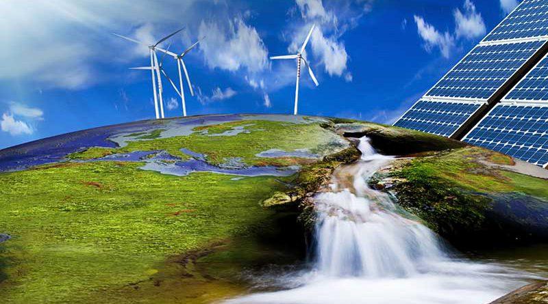 Erneuerbare Energie, Grüne Energie, Solarstrom und Windenergie.
