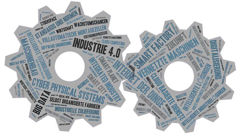 Industrie 4.0 - Vernetzung der Maschinen, intelligente Lösungen, Big Data, Cloud Computing und smart factory.