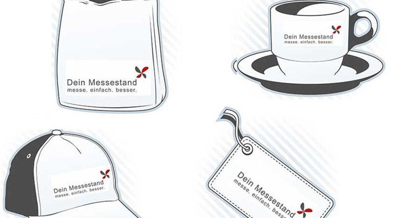 Werbeartikel, bedruckte Tasse, Tasche und Giveaways.