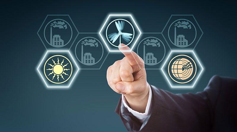 Energieeffizienz - erneuerbare Energien, Umwelttechnik wie Holzenergie oder Windenergie.
