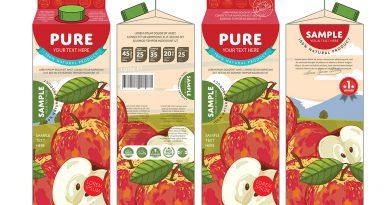 Verpackung von Apfelsaft - Industrielle Drucktechnologie.