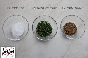Gewürze Hauberlinge - Salz, Schnittlauch und Kümmel