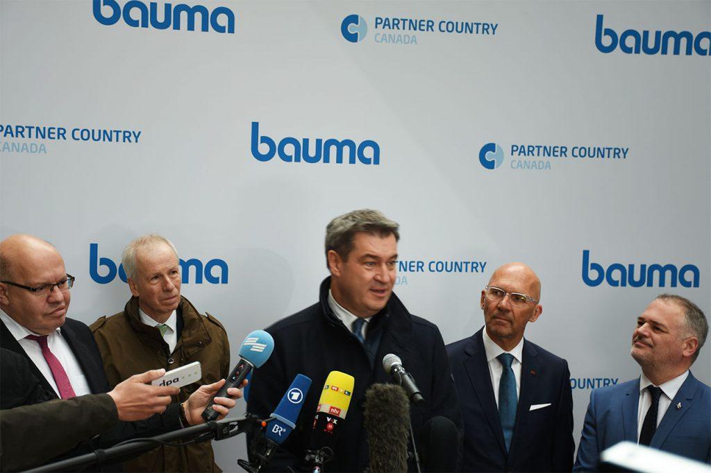 bauma 2019 Eröffnung: Peter Altmaier, Herr Dion, Dr. Markus Söder, Klaus Dittrich, Herr Julien auf der Messe München